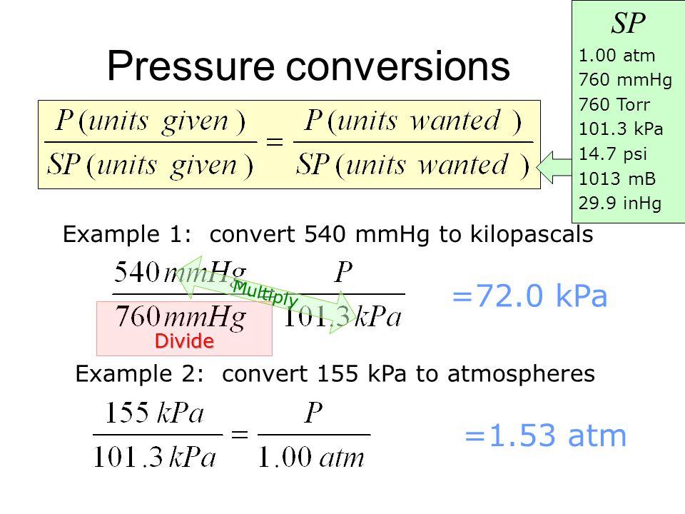 Pressure conversions Example 1: convert 540 mmHg to kilopascals =72.0 kPa Example 2: convert 155 kPa to atmospheres =1.53 atm SP 1.00 atm 760 mmHg 760 Torr 101.3 kPa 14.7 psi 1013 mB 29.9 inHg M u l t i p l y Divide