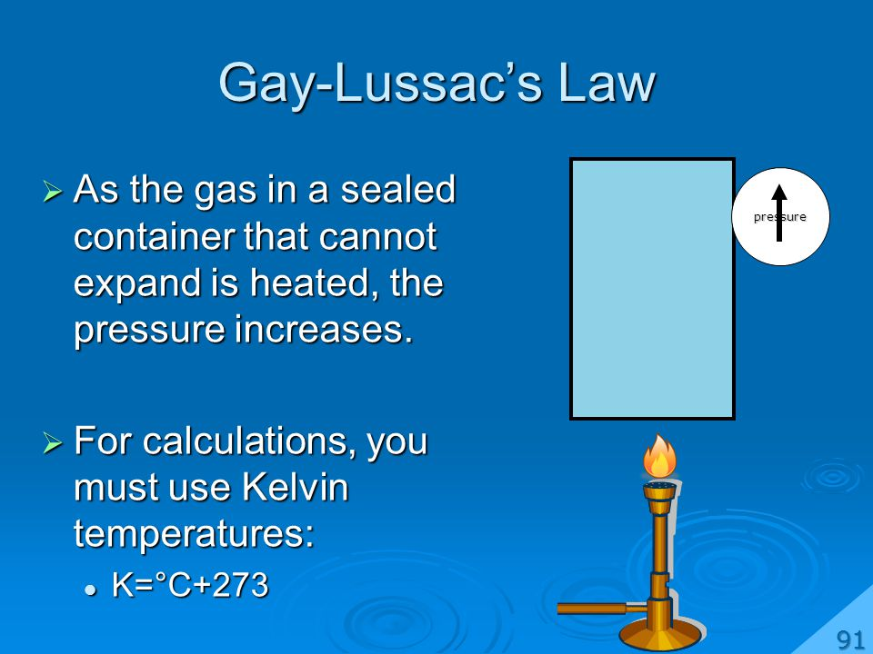 Gay-Lussacs Law As the gas in a sealed container that cannot expand is heated, the pressure increases.