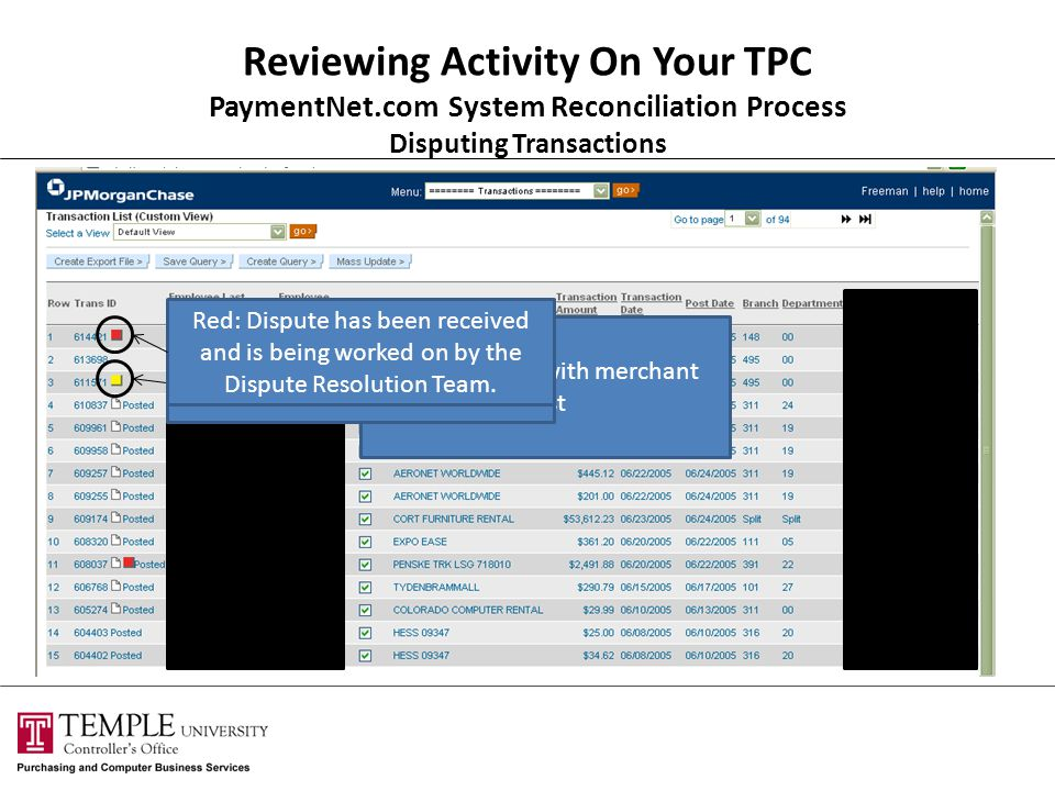 Reviewing Activity On Your TPC PaymentNet.com System Reconciliation Process Disputing Transactions Try to resolve with merchant first Yellow: Dispute