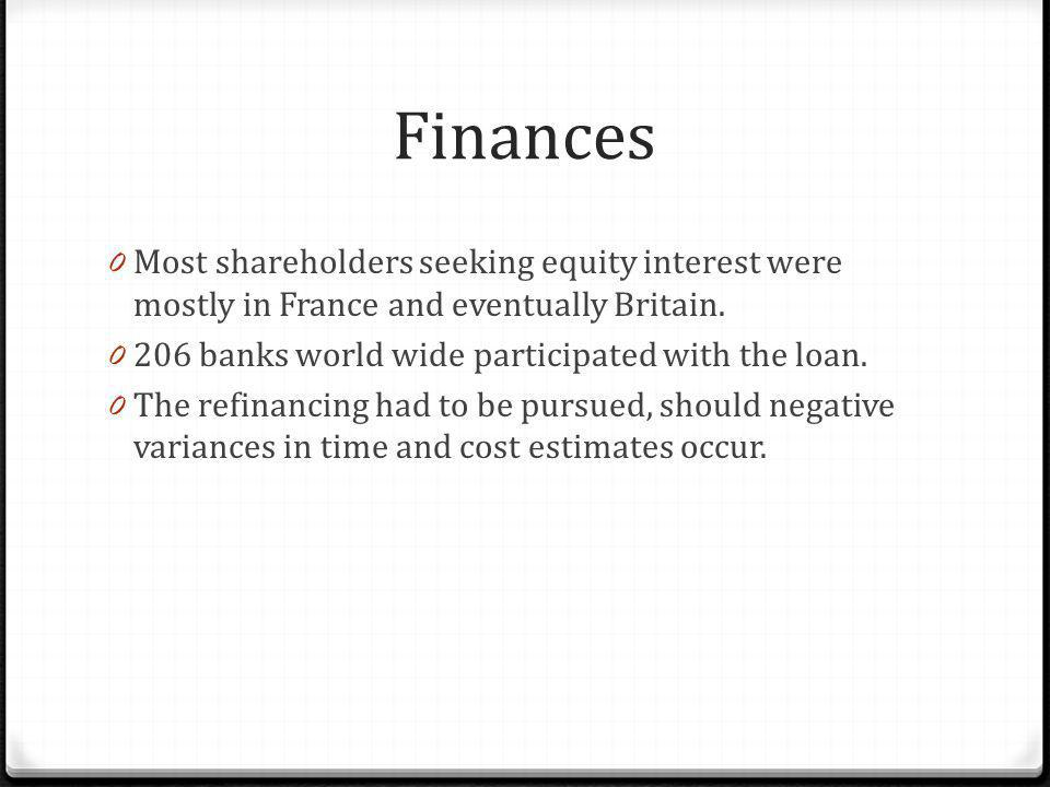 Finances 0 Most shareholders seeking equity interest were mostly in France and eventually Britain. 0 206 banks world wide participated with the loan.