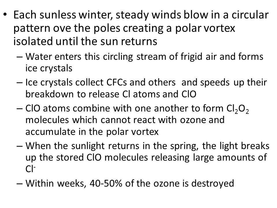 Each sunless winter, steady winds blow in a circular pattern ove the poles creating a polar vortex isolated until the sun returns – Water enters this