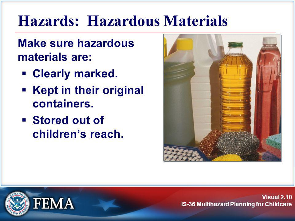 Visual 2.10 IS-36 Multihazard Planning for Childcare Make sure hazardous materials are: Clearly marked. Kept in their original containers. Stored out