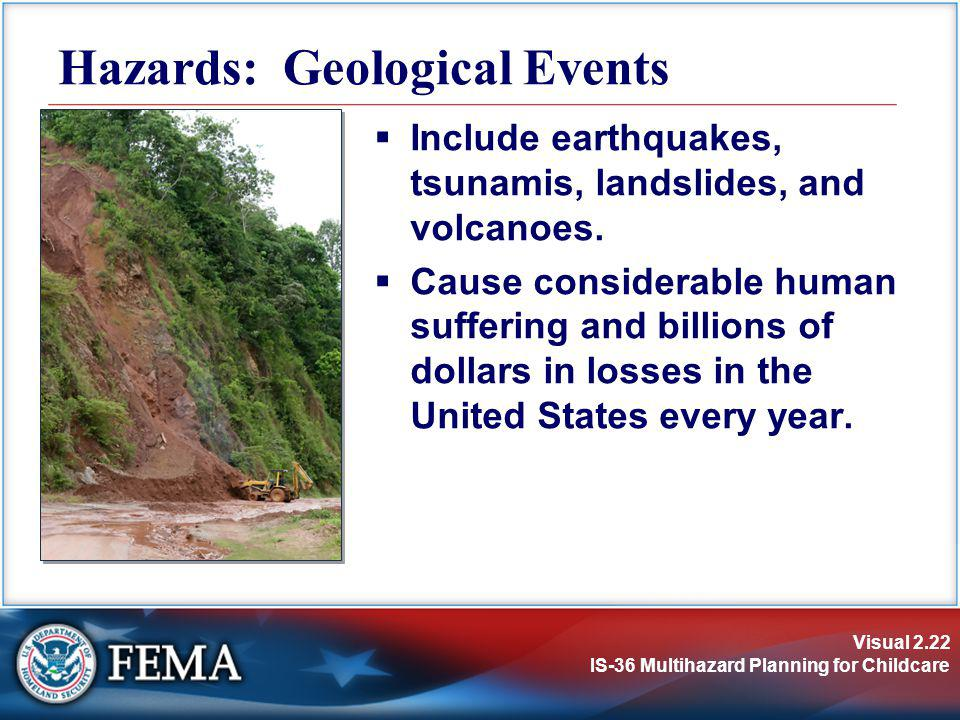 Visual 2.22 IS-36 Multihazard Planning for Childcare Include earthquakes, tsunamis, landslides, and volcanoes. Cause considerable human suffering and