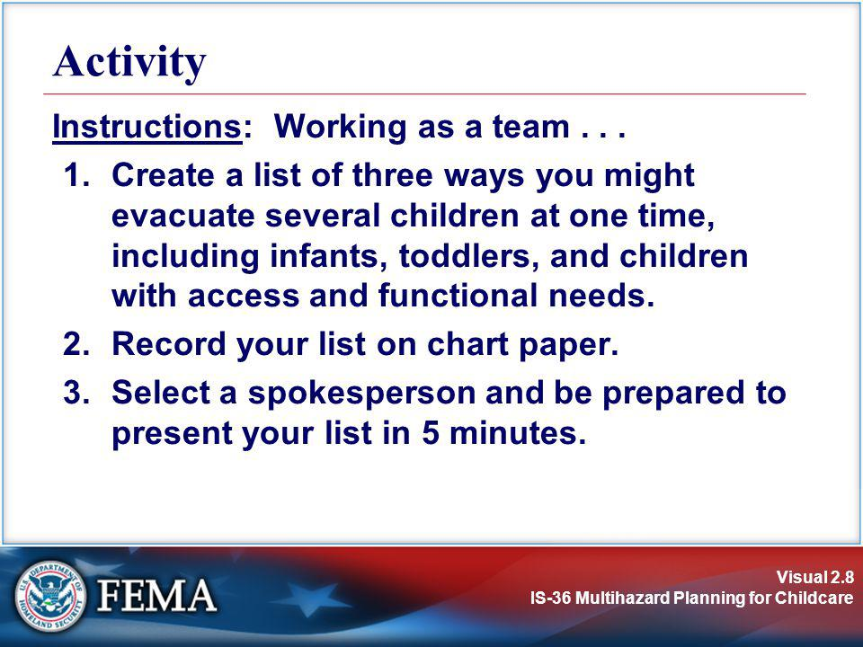 Visual 2.8 IS-36 Multihazard Planning for Childcare Instructions: Working as a team... 1.Create a list of three ways you might evacuate several childr