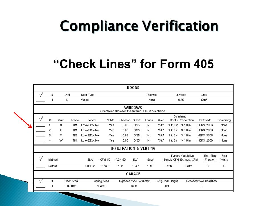 Check Lines for Form 405 Compliance Verification