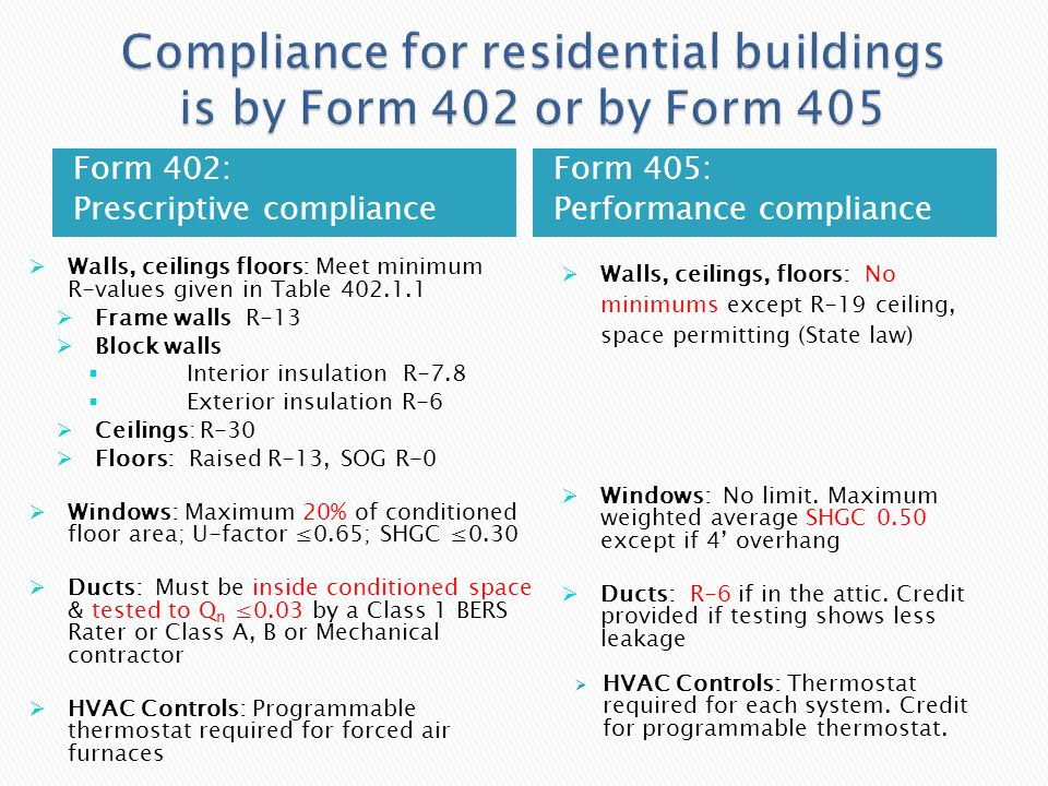 Form 402: Prescriptive compliance Form 405: Performance compliance Walls, ceilings floors: Meet minimum R-values given in Table 402.1.1 Frame walls R-