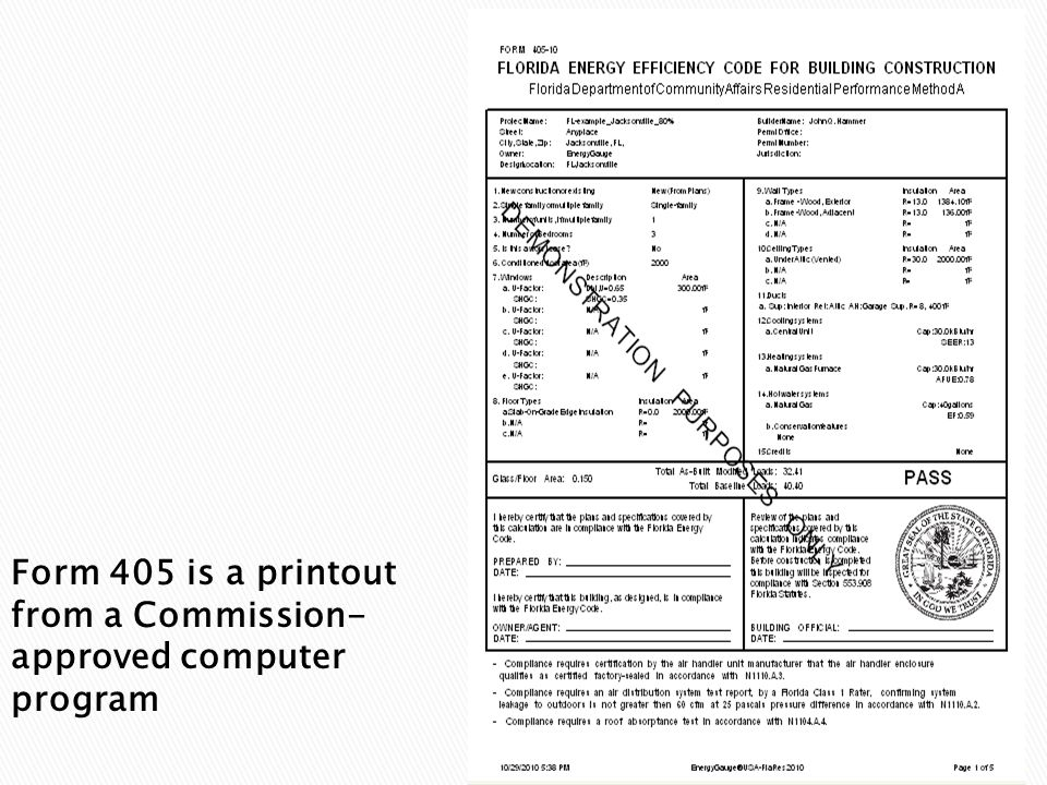 Form 405 is a printout from a Commission- approved computer program