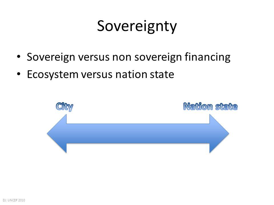 Sovereignty Sovereign versus non sovereign financing Ecosystem versus nation state DJ: UNCDF 2010