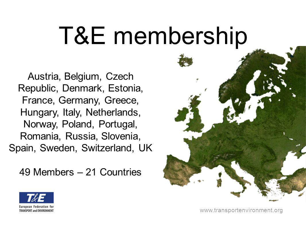 www.transportenvironment.org Austria, Belgium, Czech Republic, Denmark, Estonia, France, Germany, Greece, Hungary, Italy, Netherlands, Norway, Poland, Portugal, Romania, Russia, Slovenia, Spain, Sweden, Switzerland, UK 49 Members – 21 Countries T&E membership