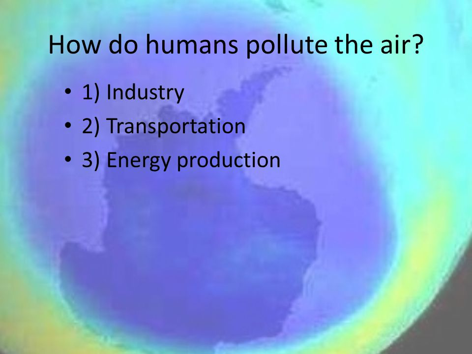 How do humans pollute the air? 1) Industry 2) Transportation 3) Energy production