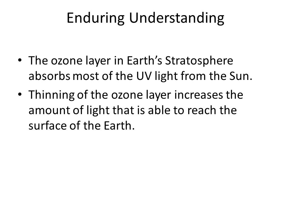Enduring Understanding The ozone layer in Earths Stratosphere absorbs most of the UV light from the Sun. Thinning of the ozone layer increases the amo