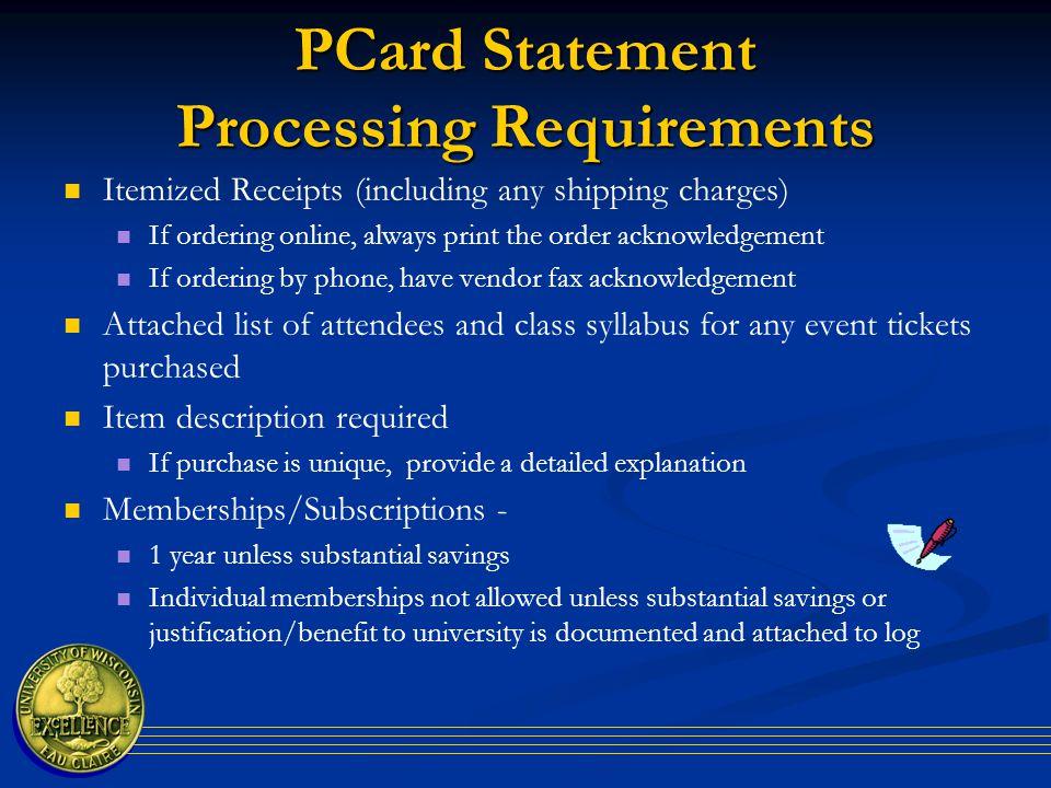 P Card Summary Log Form ** It is no longer mandatory to process a PCard summary log.