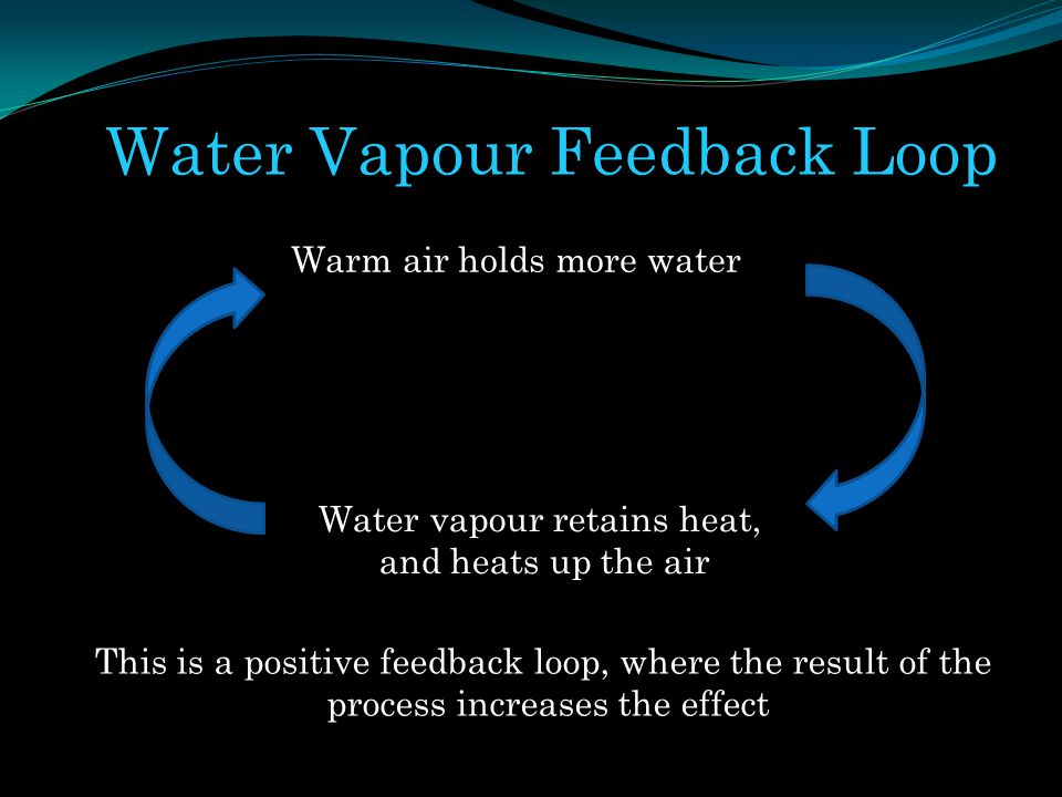 Water Vapour Feedback Loop Warm air holds more water Water vapour retains heat, and heats up the air This is a positive feedback loop, where the resul