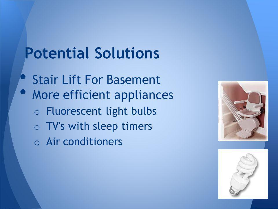 Stair Lift For Basement More efficient appliances o Fluorescent light bulbs o TV s with sleep timers o Air conditioners Potential Solutions