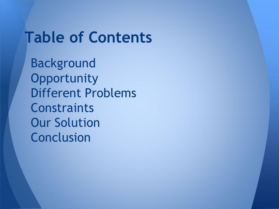Background Opportunity Different Problems Constraints Our Solution Conclusion Table of Contents