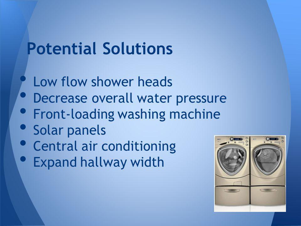 Low flow shower heads Decrease overall water pressure Front-loading washing machine Solar panels Central air conditioning Expand hallway width Potential Solutions