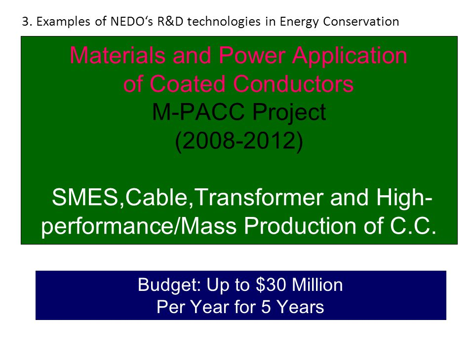 Materials and Power Application of Coated Conductors M-PACC Project (2008-2012) SMES,Cable,Transformer and High- performance/Mass Production of C.C. B