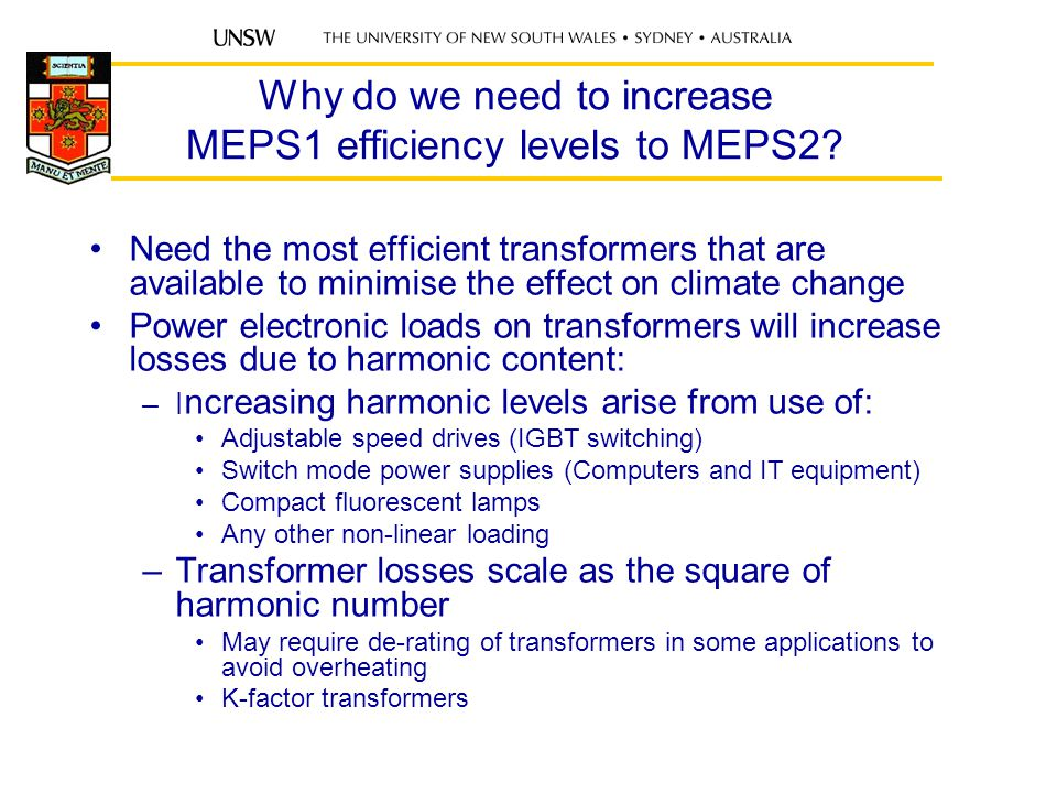 Why do we need to increase MEPS1 efficiency levels to MEPS2.