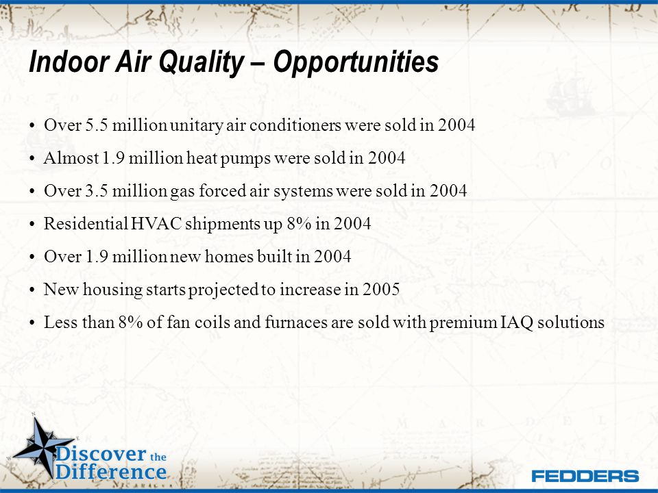 Indoor Air Quality – Opportunities Over 5.5 million unitary air conditioners were sold in 2004 Almost 1.9 million heat pumps were sold in 2004 Over 3.