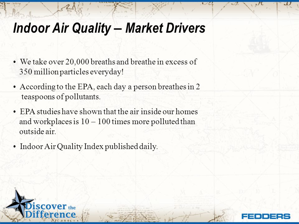 Indoor Air Quality – Market Drivers We take over 20,000 breaths and breathe in excess of 350 million particles everyday! According to the EPA, each da