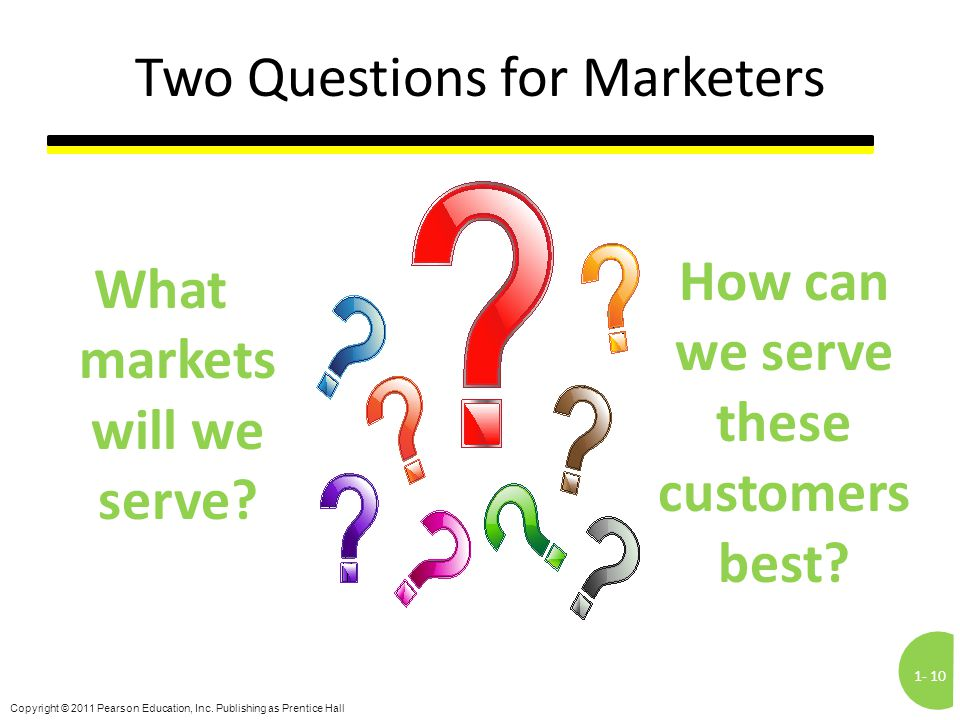 1-10 Copyright © 2011 Pearson Education, Inc. Publishing as Prentice Hall Two Questions for Marketers What markets will we serve? How can we serve the