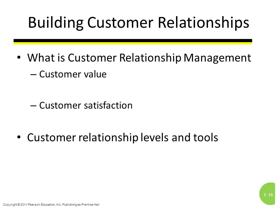 1-16 Copyright © 2011 Pearson Education, Inc. Publishing as Prentice Hall Building Customer Relationships What is Customer Relationship Management – C