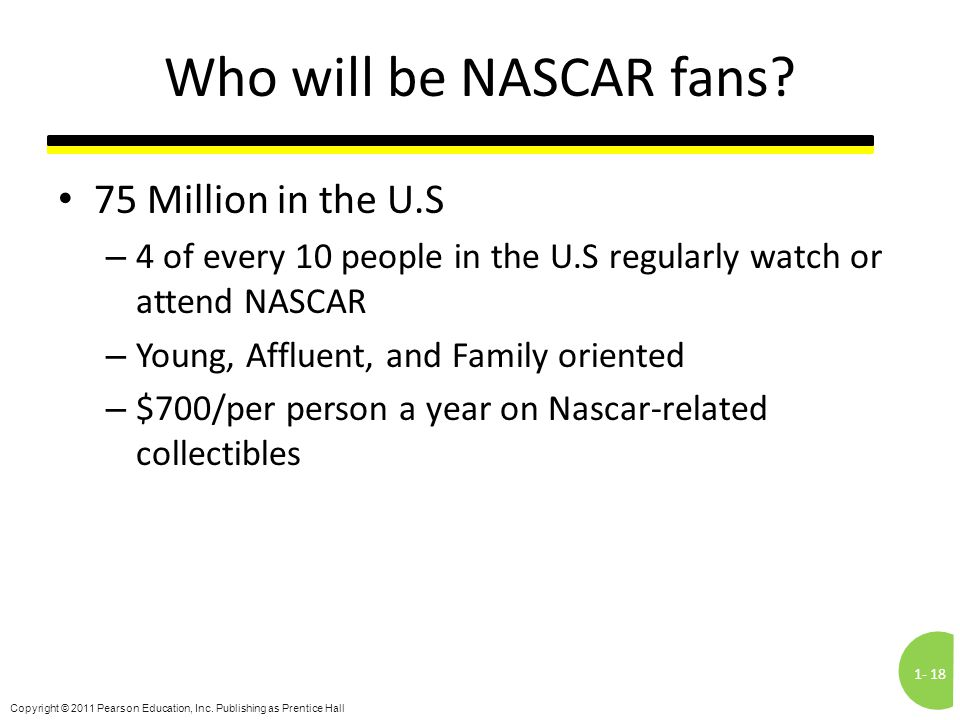 1-18 Copyright © 2011 Pearson Education, Inc. Publishing as Prentice Hall Who will be NASCAR fans? 75 Million in the U.S – 4 of every 10 people in the