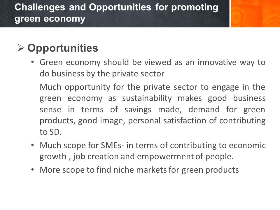 Challenges and Opportunities for promoting green economy Opportunities Green economy should be viewed as an innovative way to do business by the priva