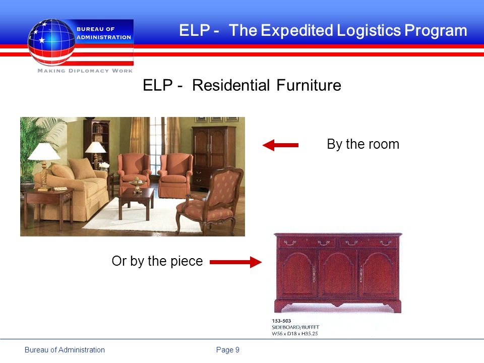 Page 9Bureau of Administration ELP - The Expedited Logistics Program ELP - Residential Furniture By the room Or by the piece