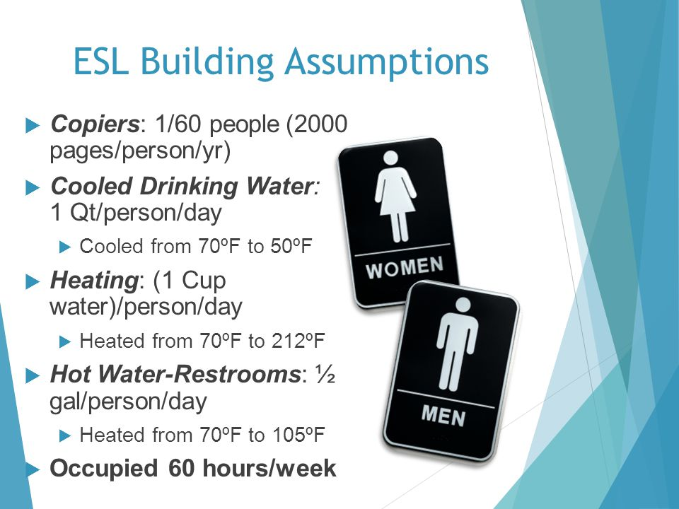 ESL Building Assumptions Copiers: 1/60 people (2000 pages/person/yr) Cooled Drinking Water: 1 Qt/person/day Cooled from 70ºF to 50ºF Heating: (1 Cup water)/person/day Heated from 70ºF to 212ºF Hot Water-Restrooms: ½ gal/person/day Heated from 70ºF to 105ºF Occupied 60 hours/week