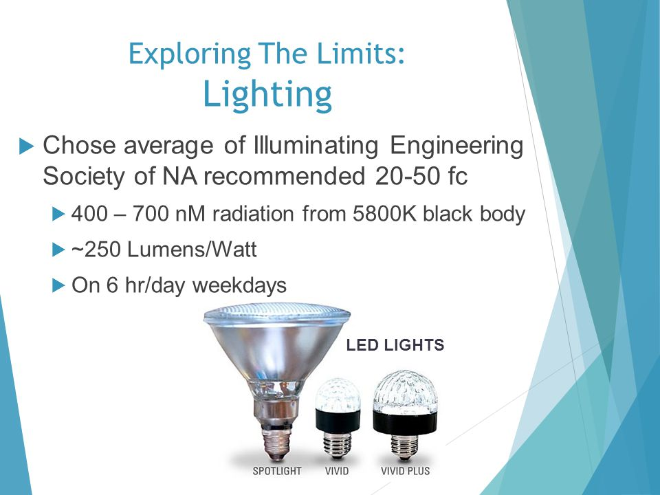Exploring The Limits: Lighting Chose average of Illuminating Engineering Society of NA recommended 20-50 fc 400 – 700 nM radiation from 5800K black bo