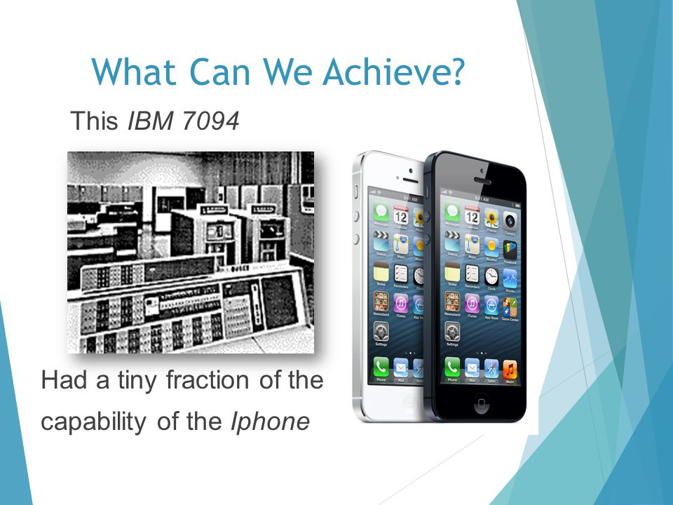 What Can We Achieve? This IBM 7094 Had a tiny fraction of the capability of the Iphone