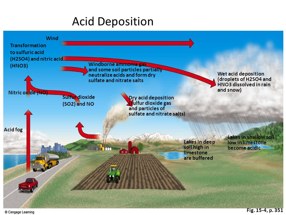 Fig. 15-4, p. 351 Lakes in deep soil high in limestone are buffered Lakes in shallow soil low in limestone become acidic Wet acid deposition (droplets