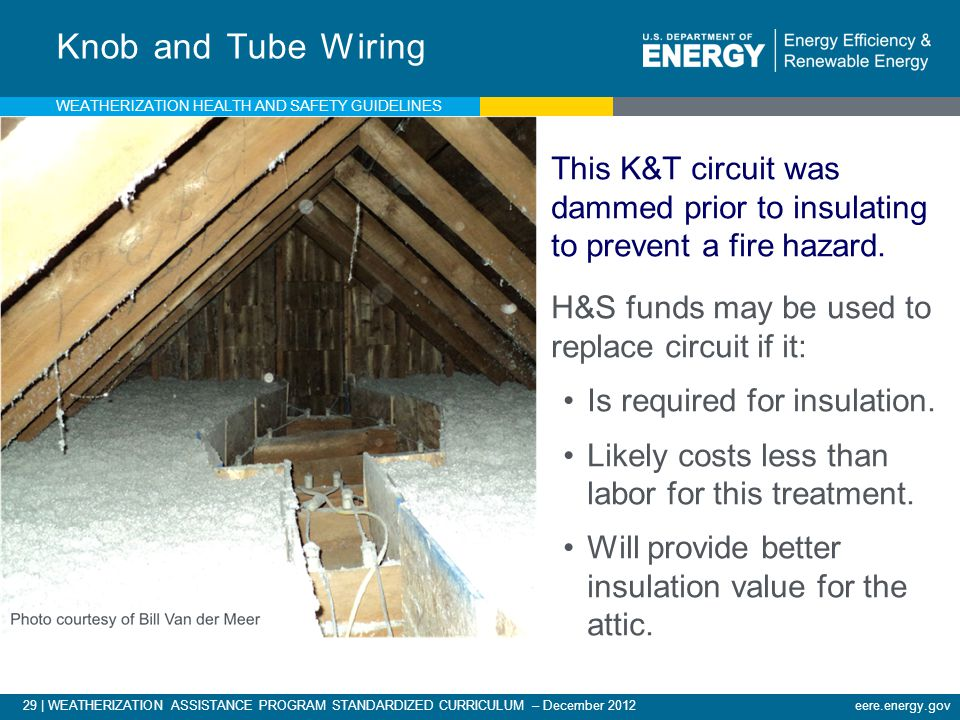 29 | WEATHERIZATION ASSISTANCE PROGRAM STANDARDIZED CURRICULUM – December 2012 eere.energy.gov Knob and Tube Wiring This K&T circuit was dammed prior to insulating to prevent a fire hazard.