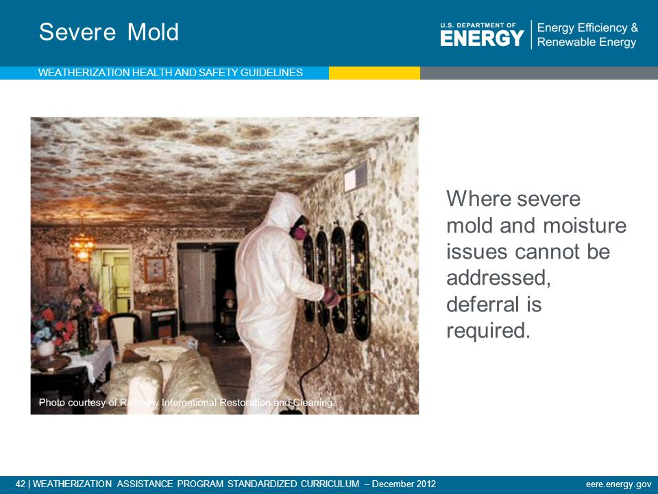 42 | WEATHERIZATION ASSISTANCE PROGRAM STANDARDIZED CURRICULUM – December 2012 eere.energy.gov Severe Mold Where severe mold and moisture issues cannot be addressed, deferral is required.