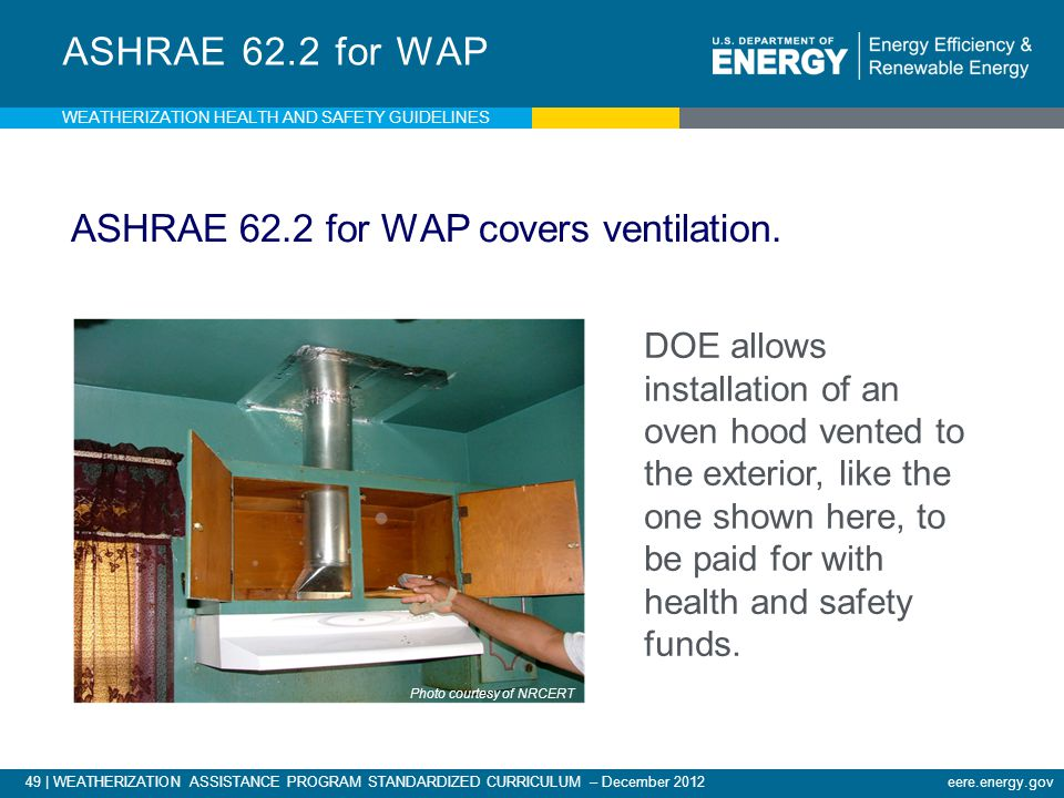 49 | WEATHERIZATION ASSISTANCE PROGRAM STANDARDIZED CURRICULUM – December 2012 eere.energy.gov ASHRAE 62.2 for WAP ASHRAE 62.2 for WAP covers ventilation.