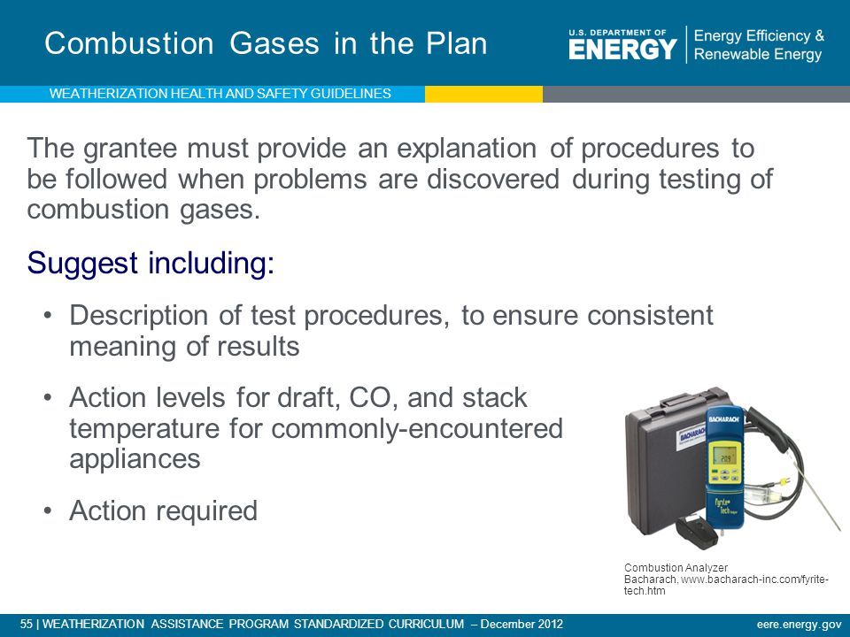 55 | WEATHERIZATION ASSISTANCE PROGRAM STANDARDIZED CURRICULUM – December 2012 eere.energy.gov Combustion Gases in the Plan The grantee must provide an explanation of procedures to be followed when problems are discovered during testing of combustion gases.