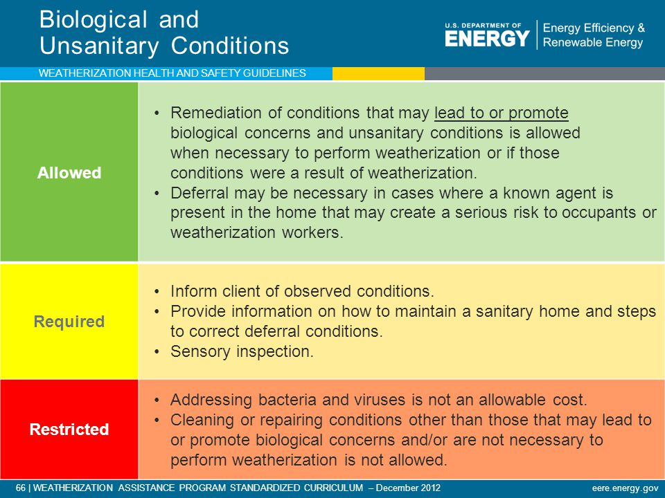 66 | WEATHERIZATION ASSISTANCE PROGRAM STANDARDIZED CURRICULUM – December 2012 eere.energy.gov Biological and Unsanitary Conditions Allowed Remediation of conditions that may lead to or promote biological concerns and unsanitary conditions is allowed when necessary to perform weatherization or if those conditions were a result of weatherization.