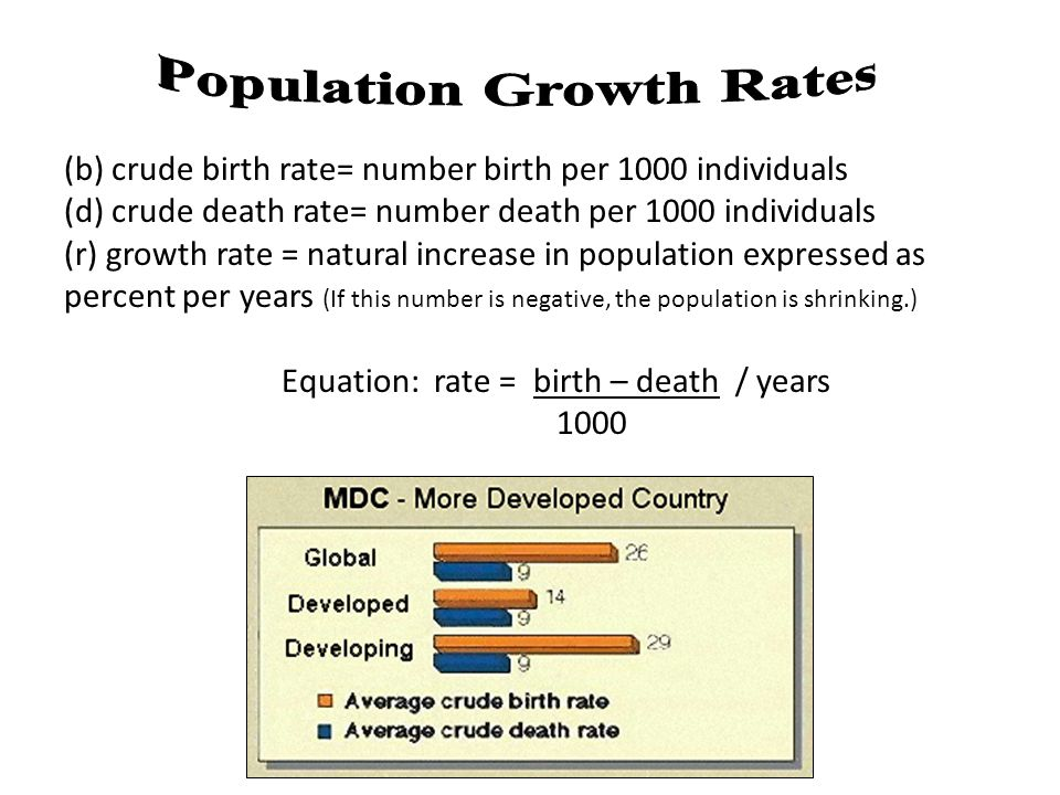 (b) crude birth rate= number birth per 1000 individuals (d) crude death rate= number death per 1000 individuals (r) growth rate = natural increase in