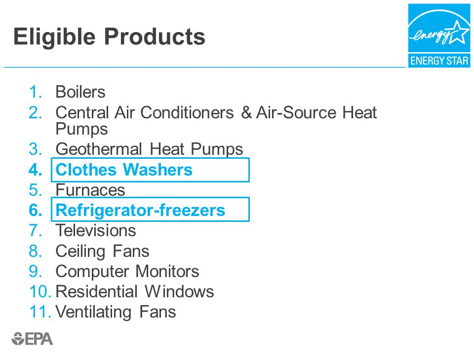 Eligible Products 1.Boilers 2.Central Air Conditioners & Air-Source Heat Pumps 3.Geothermal Heat Pumps 4.Clothes Washers 5.Furnaces 6.Refrigerator-freezers 7.Televisions 8.Ceiling Fans 9.Computer Monitors 10.Residential Windows 11.Ventilating Fans