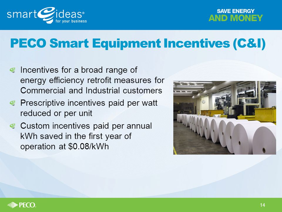 PECO Smart Equipment Incentives (C&I) Incentives for a broad range of energy efficiency retrofit measures for Commercial and Industrial customers Prescriptive incentives paid per watt reduced or per unit Custom incentives paid per annual kWh saved in the first year of operation at $0.08/kWh 14