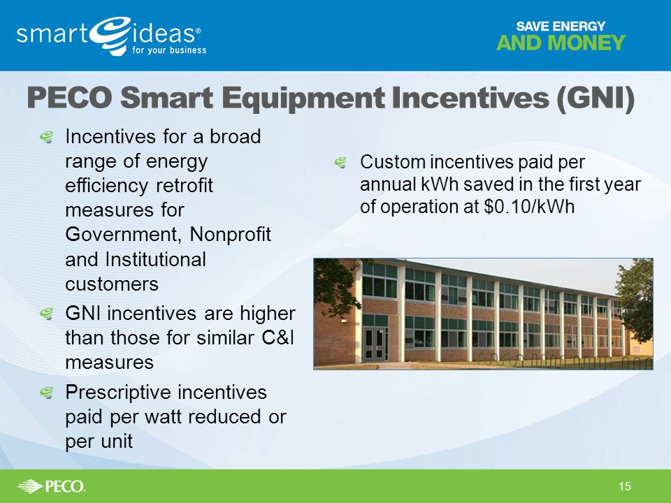 Incentives for a broad range of energy efficiency retrofit measures for Government, Nonprofit and Institutional customers GNI incentives are higher th