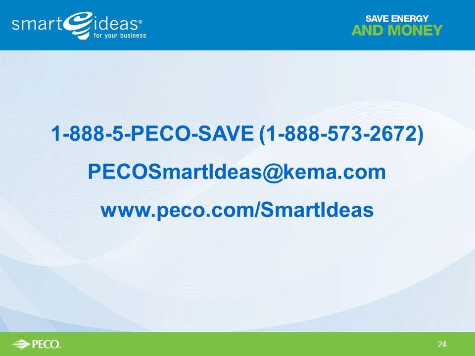 1-888-5-PECO-SAVE (1-888-573-2672) PECOSmartIdeas@kema.com www.peco.com/SmartIdeas 24