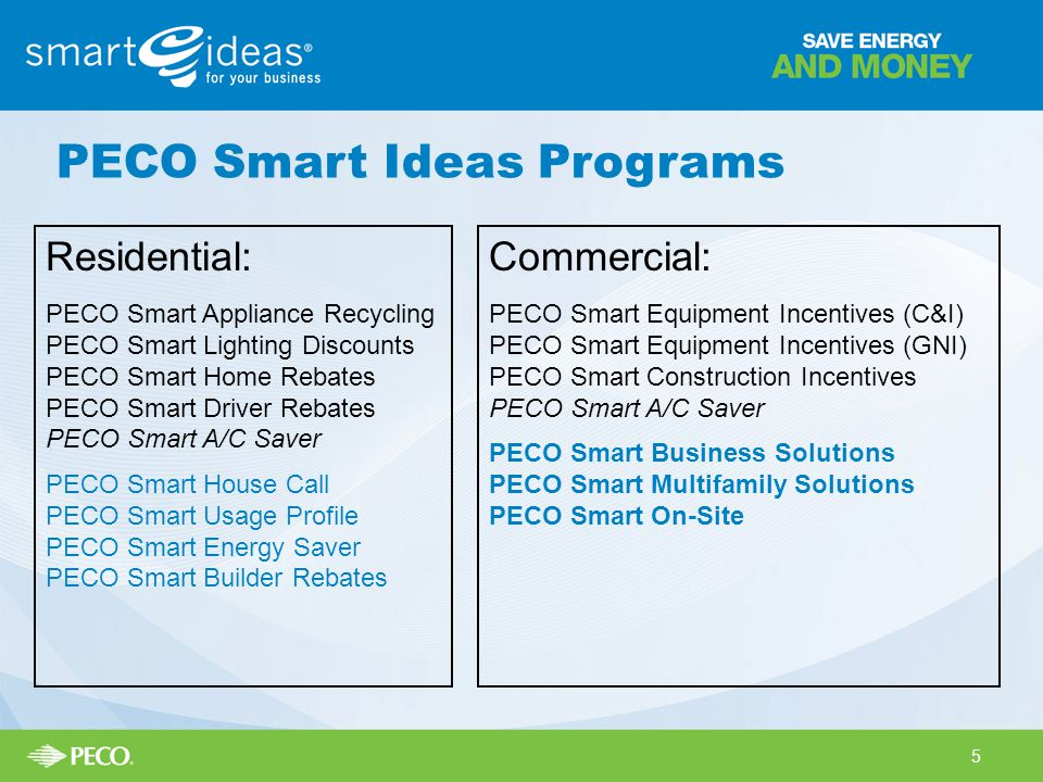 Residential: PECO Smart Appliance Recycling PECO Smart Lighting Discounts PECO Smart Home Rebates PECO Smart Driver Rebates PECO Smart A/C Saver PECO Smart House Call PECO Smart Usage Profile PECO Smart Energy Saver PECO Smart Builder Rebates Commercial: PECO Smart Equipment Incentives (C&I) PECO Smart Equipment Incentives (GNI) PECO Smart Construction Incentives PECO Smart A/C Saver PECO Smart Business Solutions PECO Smart Multifamily Solutions PECO Smart On-Site PECO Smart Ideas Programs 5