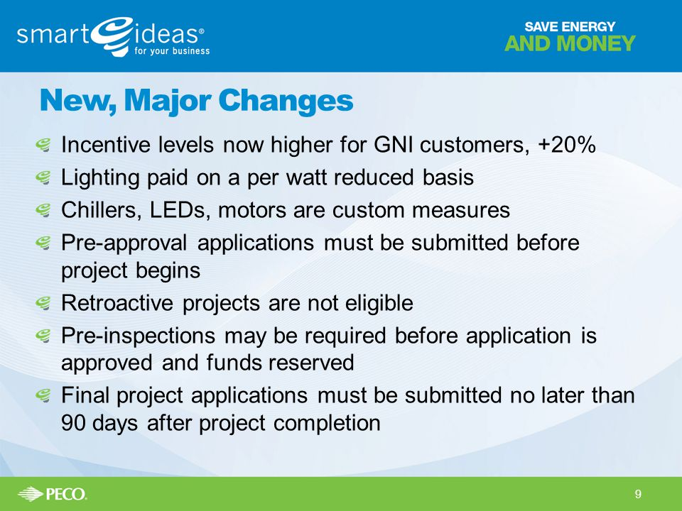 New, Major Changes Incentive levels now higher for GNI customers, +20% Lighting paid on a per watt reduced basis Chillers, LEDs, motors are custom mea