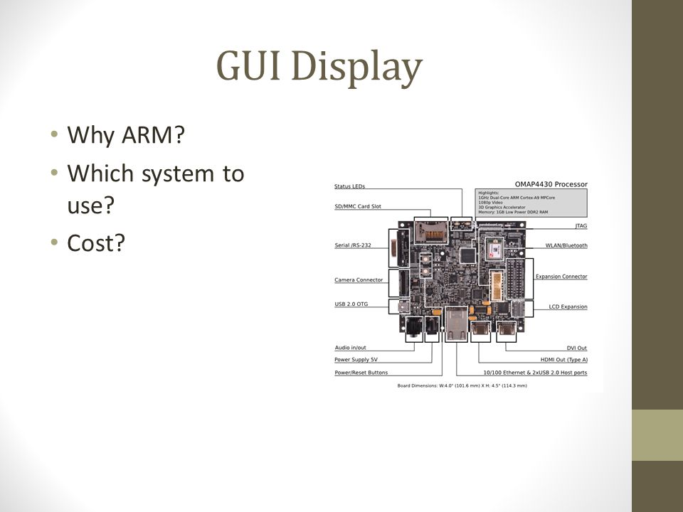 GUI Display Why ARM? Which system to use? Cost?