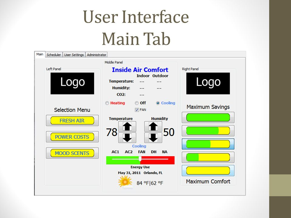 User Interface Main Tab