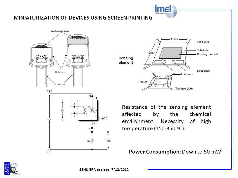 SENS-ERA project, 7/12/2012 MINIATURIZATION OF DEVICES USING SCREEN PRINTING Power Consumption: Down to 50 mW Resistance of the sensing element affected by the chemical environment.