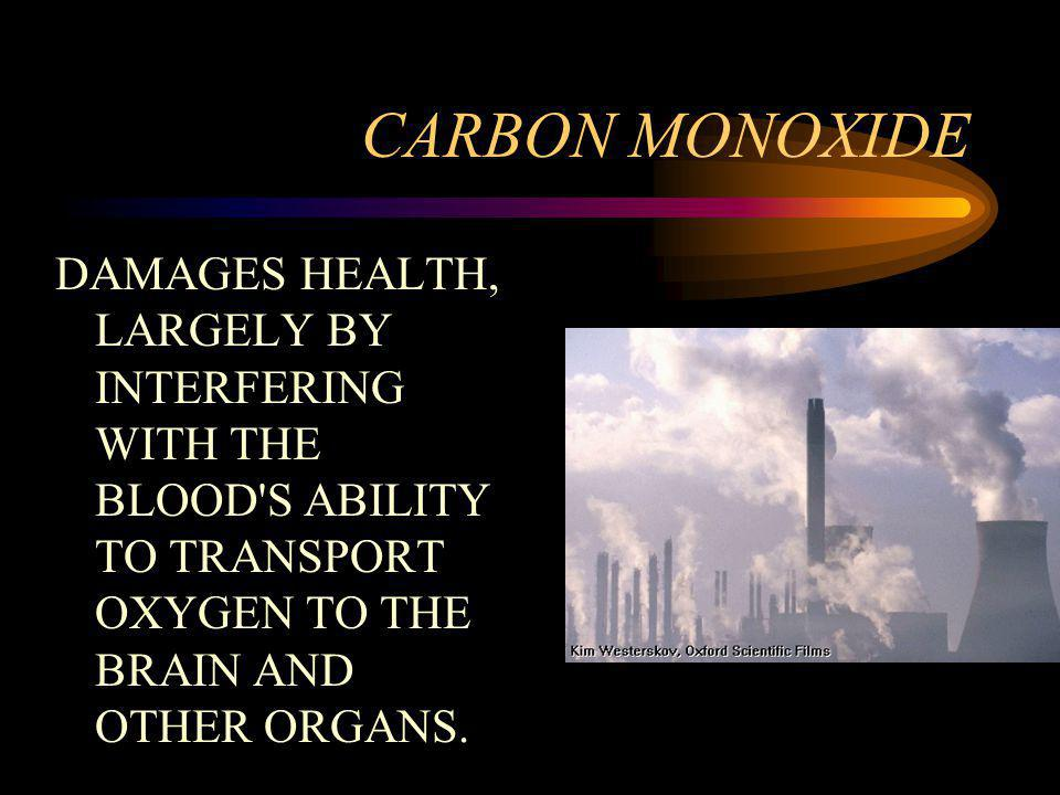 CARBON MONOXIDE DAMAGES HEALTH, LARGELY BY INTERFERING WITH THE BLOOD'S ABILITY TO TRANSPORT OXYGEN TO THE BRAIN AND OTHER ORGANS.
