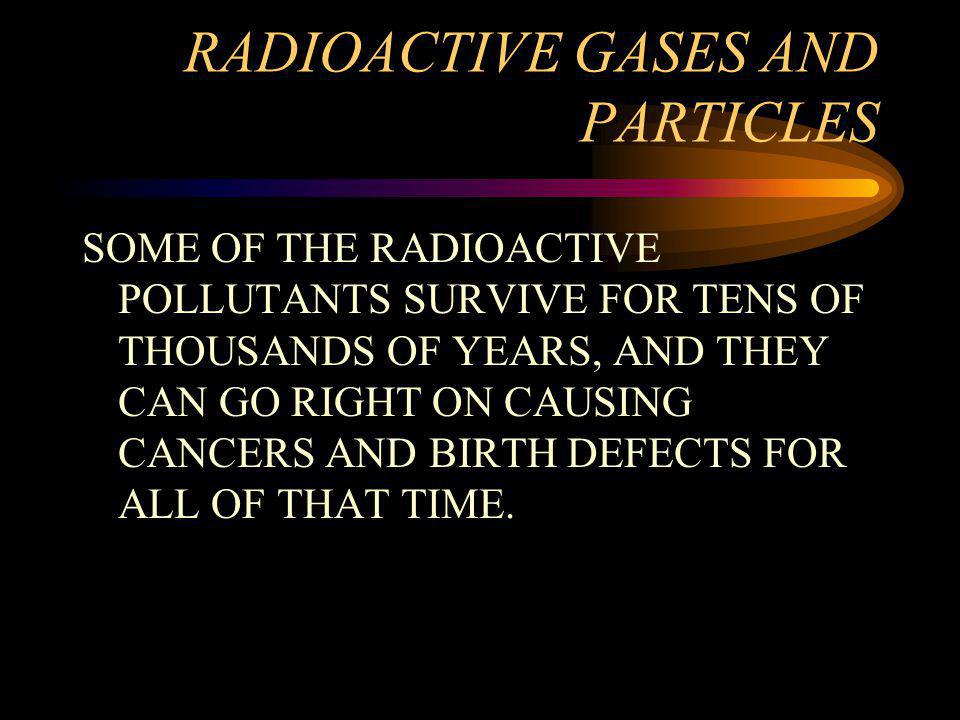 RADIOACTIVE GASES AND PARTICLES SOME OF THE RADIOACTIVE POLLUTANTS SURVIVE FOR TENS OF THOUSANDS OF YEARS, AND THEY CAN GO RIGHT ON CAUSING CANCERS AND BIRTH DEFECTS FOR ALL OF THAT TIME.